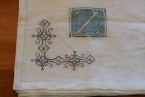 """Blackwork """"Z"""" cross-stitched on hem-stitched linen"""