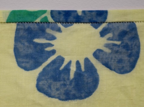 Dye paint and Jacquard resist on linen with hand-stitched hem