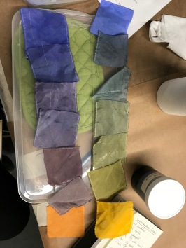 Dye swatches created by mixing complements to create a gradient