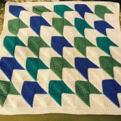 Baby blanket knit mitered-corners