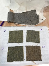 Dye samples to test adding yellow-tinge to top fabric
