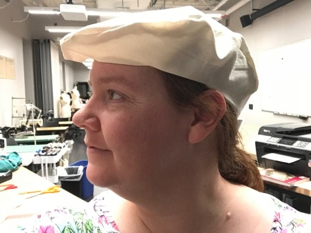Muslin mock-up for fitting flannel cap
