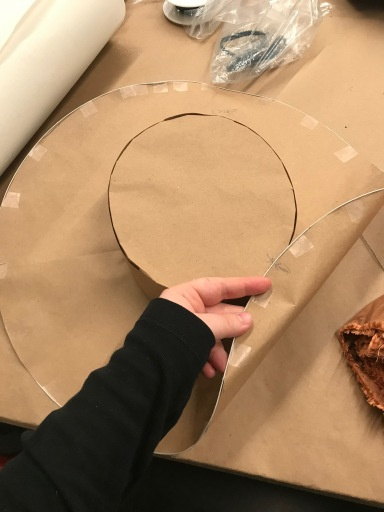 Brown paper buckram hat pattern with wired edge