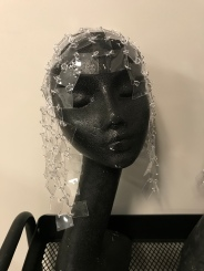 PVC chainmail headpiece for The Lathe of Heaven designed by Chloe Moore