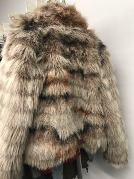 Painted fake fur coat for Horizon Line, designed by Kevin Morris